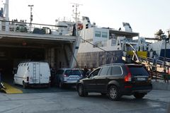 Loading car ferry in the port of Kavkaz. Stock Image
