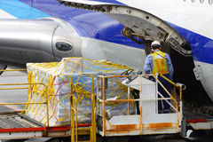 Loading Cargo. Worker Loading Cargo in the Aircraft Stock Photos