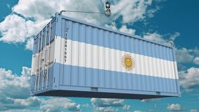 Loading cargo container with flag of Argentina. Argentinean import or export related conceptual 3D animation. Loading cargo container with flag. Import or export vector illustration