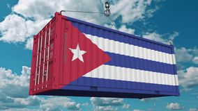 Loading cargo container with flag of Cuba. Cuban import or export related conceptual 3D animation. Loading cargo container with flag. Import or export related stock footage