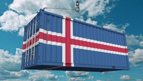 Loading cargo container with flag of Iceland. Icelandic import or export related conceptual 3D animation. Loading cargo container with flag. Import or export stock illustration