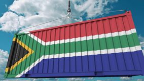 Loading cargo container with flag of South Africa. SAR import or export related conceptual 3D rendering. Loading cargo container with flag. Import or export stock illustration