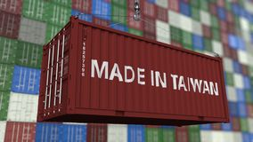 Loading container with MADE IN TAIWAN caption. Taiwanese import or export related loopable animation. Loading cargo container. Import or export related stock video footage