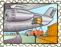 Loading cargo to the aircraft Royalty Free Stock Photo