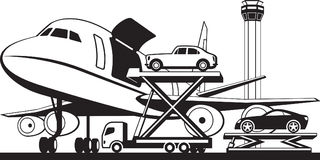 Loading cars in cargo airplane Stock Images