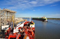 loading of chemical tanker in the port Royalty Free Stock Photo
