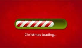 Loading Christmas. Red and green web bar on dark red background with snowflakes. Royalty Free Stock Photography