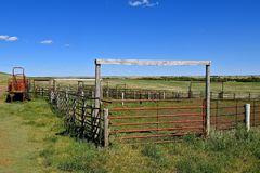 Loading chute by empty corral in the western prairies Stock Image
