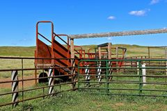 Loading chute at a western corral Stock Photo