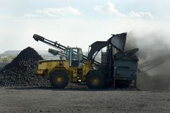 Loading Coal. Industrial Vehicle loading coal onto a screening plant Stock Image