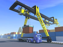 Loading of container. Work of crane loading container on track vector illustration