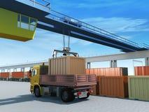 Loading container. Loading, unloading container on the logistics station royalty free illustration