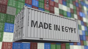 Loading container with MADE IN EGYPT caption. Egyptian import or export related 3D rendering vector illustration