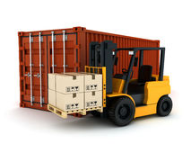 Loading Container. Loading red cargo Container (done in 3d stock illustration