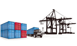Loading containers. At the port illustration royalty free illustration