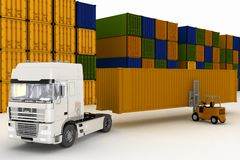 Loading of containers on big  truck Stock Photography