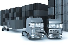 Loading of containers on big  trucks Stock Photo