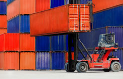 Loading Containers box, Container Cargo freight ship for Logisti Stock Photo