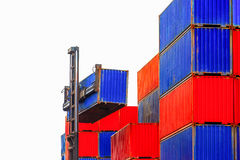 Loading Containers box, Container Cargo freight ship for Logistic Import Export background stock images