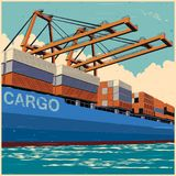 Loading containers by port cranes in retro poster style stock illustration