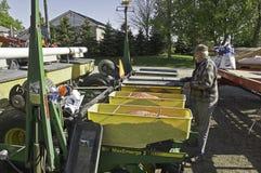 Loading corn seeder Stock Photo