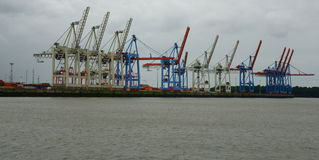 Loading cranes in the harbour of Hamburg Stock Image