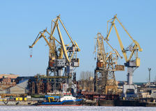 Loading Cranes at the port. Stock Photos