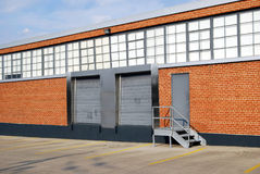 Loading dock. Of a typical low rise factory or warehouse stock photos