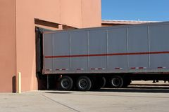 Loading Dock. Trucks backed up to a loading dock stock photos