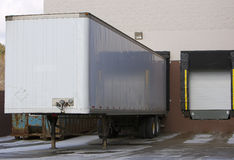 Loading Dock. Trailer at Warehouse Dock or Store Loading Dock royalty free stock images
