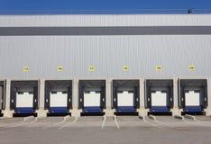 Loading dock doors. Loading dock cargo doors at big warehouse Stock Images