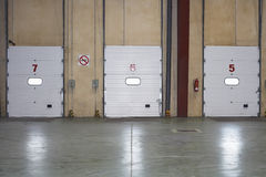 Loading Dock Doors In warehouse Royalty Free Stock Images