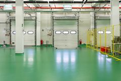 Loading dock interior. In new distribution warehouse Royalty Free Stock Image