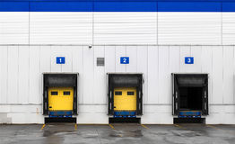 Loading dock at a warehouse. Numbered ramps royalty free stock photos
