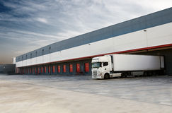 Loading docks. Industrial image of loading docks and truck Royalty Free Stock Images