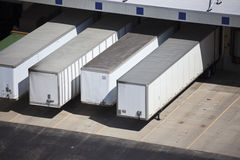 Loading docks and the trailers Royalty Free Stock Photos