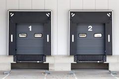 Loading docks. For trucks at warehouse stock images