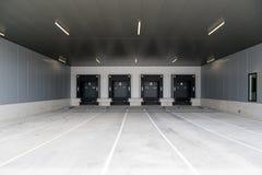 Loading docks. For trucks at warehouse stock image