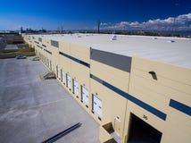 Loading docks in warehouse, Denver, Colorado. Aerial view of empty loading docks in warehouse of northern Denver, Colorado on sunny day royalty free stock photos