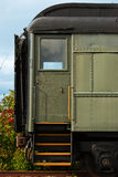 Loading Door of Antique Train. The loading doorway and steps of an old, vintage, antique train rail car Royalty Free Stock Photo