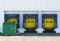 Loading doors. Loading dock cargo doors at big warehouse Royalty Free Stock Photography