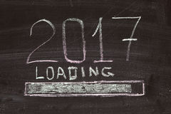 Loading of 2017 drawing on the board Stock Photo