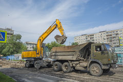 Loading of the dump truck Stock Photos