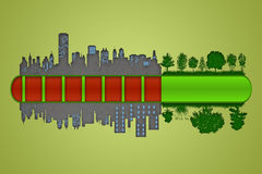 Loading. Environment and ecology concept. Loading bar of city urbanization and pollution against green nature stock illustration