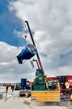 Loading of equipment on agricultural exhibition Royalty Free Stock Photos