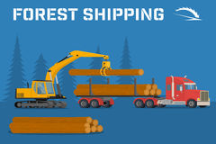 Loading felled trees in the timber crane Stock Photo