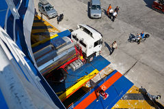 Loading a ferry. Royalty Free Stock Photography