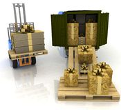 Loading of gifts boxes Royalty Free Stock Photo