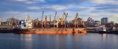 Panoramic view of the ship, cranes, and other infrastructures stock image