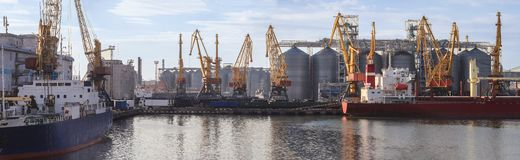 Loading grain to the ship. royalty free stock photography